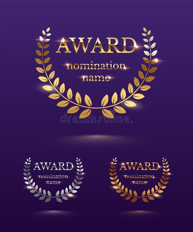 Plantillas del diseño del premio Muestras de oro, de plata y de bronce del vector del premio con la guirnalda del laurel aislada  ilustración del vector