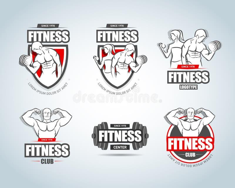 Plantillas del logotipo de la aptitud fijadas Logotipos del club del gimnasio Conceptos creativos del club de fitness del deporte libre illustration