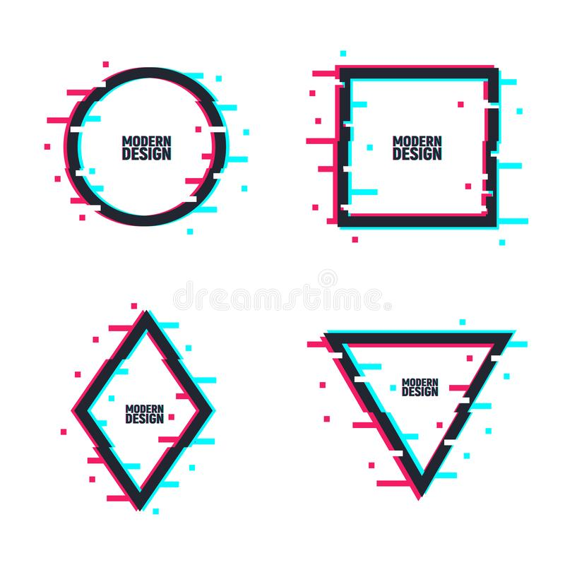 Plantillas del logotipo de la interferencia Fije de bastidores en estilo torcido de la interferencia Círculo, cuadrado, triángulo ilustración del vector