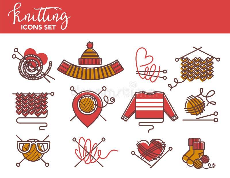 Plantillas del logotipo que hacen punto de los géneros de punto hechos punto de la ropa o del hilado stock de ilustración