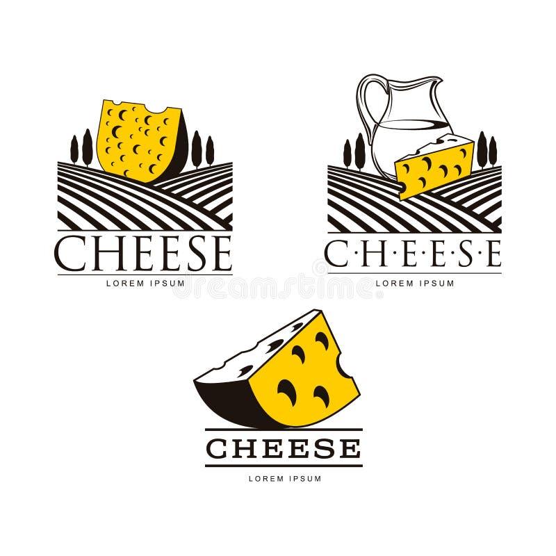Plantillas del logotipo del queso con los campos y el jarro libre illustration