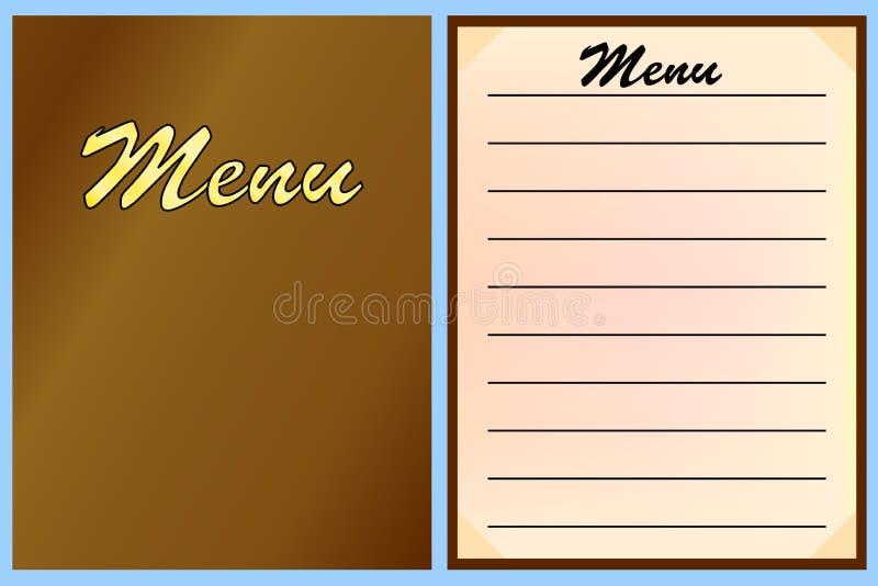Plantillas del menú para el restaurante, café Vector stock de ilustración