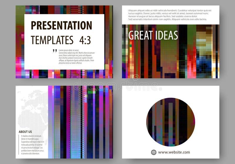 Plantillas del negocio para las diapositivas de la presentación Disposiciones abstractas en diseño del vector Fondo de Glitched h stock de ilustración