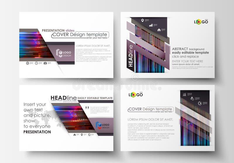 Plantillas del negocio para las diapositivas de la presentación Disposiciones abstractas en diseño del vector Fondo de Glitched h libre illustration