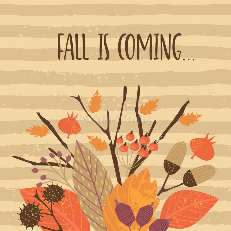 Plantillas del otoño Vector el diseño para la tarjeta, el cartel, el aviador, el web y otros usuarios ilustración del vector