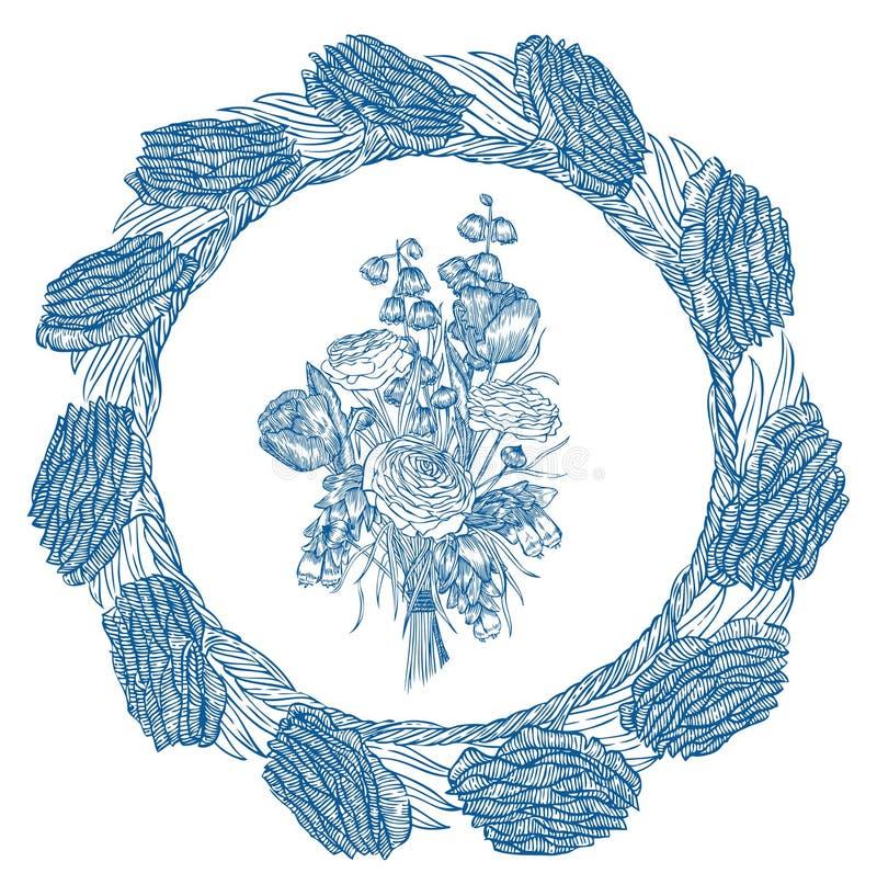 Plantillas del ramo de la flor Elemento de Vecter stock de ilustración
