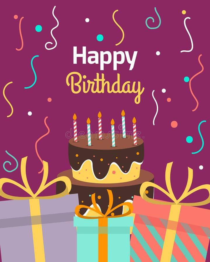 Plantillas del saludo de la colección del feliz cumpleaños Tarjeta de la invitación al partido Banderas del vector con la torta y ilustración del vector