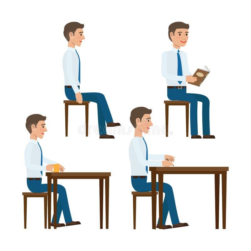 Plantillas del vector del oficinista del asiento fijadas stock de ilustración
