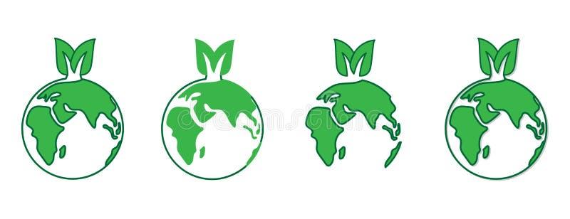 Plantillas del vector del ejemplo del concepto del Día de la Tierra del mundo Logotipo amistoso de Eco con el eartn y las hojas v ilustración del vector