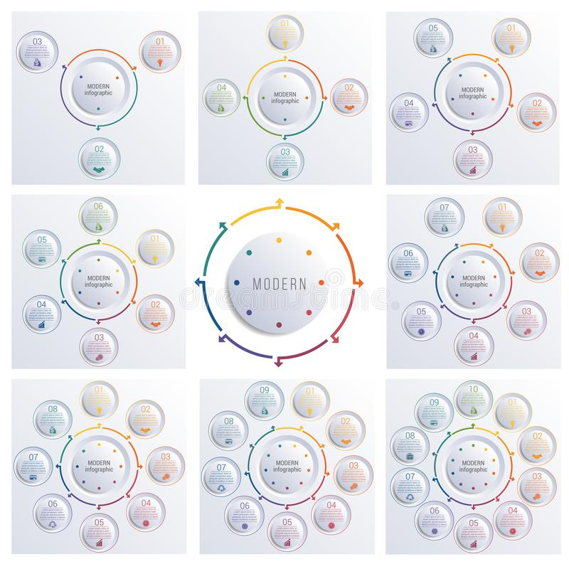 Plantillas del vector para el infographics Diagramas con 3,4,5,6,7,8,9,10 opciones de círculos libre illustration