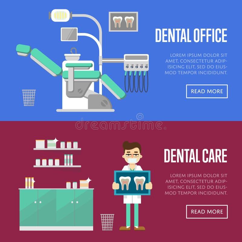 Plantillas dentales de la oficina y del cuidado ilustración del vector
