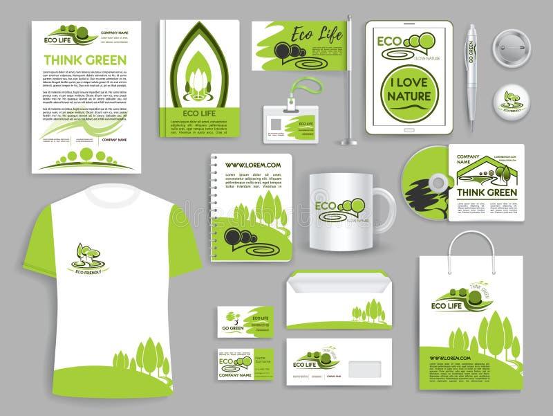 Plantillas determinadas de la compañía de la ecología de la identidad corporativa stock de ilustración