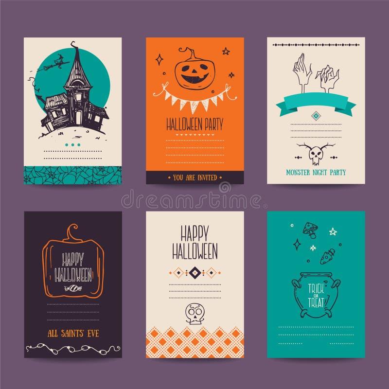 Plantillas dibujadas mano del diseño del partido de Halloween libre illustration