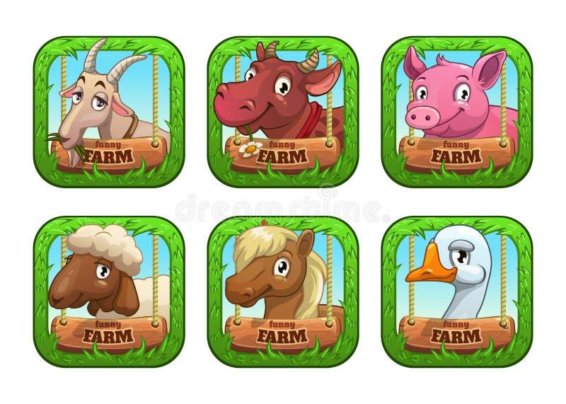 Plantillas divertidas del logotipo del juego de la granja de la historieta stock de ilustración