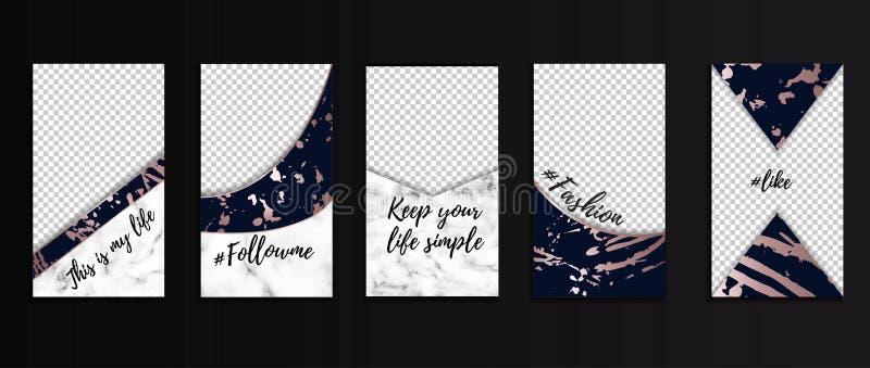 Plantillas Editable de las historias para los bloggers, el negocio, el etc Las redes sociales diseño conceptos con la textura, lo ilustración del vector