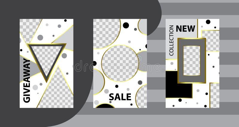 Plantillas editable de moda para las historias del instagram, venta Fondos del diseño para los medios sociales Tarjeta abstracta  stock de ilustración
