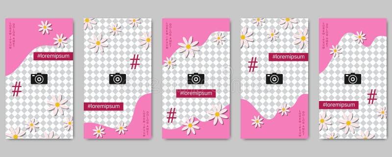 Plantillas editable del vector de las historias sociales de la red del día de tarjeta del día de San Valentín ilustración del vector