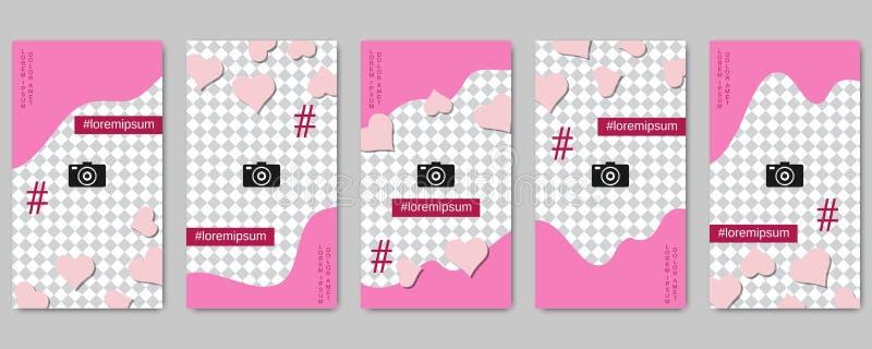 Plantillas editable del vector de las historias sociales de la red del día de tarjeta del día de San Valentín libre illustration