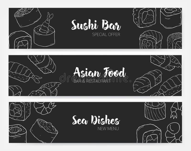 Plantillas elegantes de la bandera en colores blancos y negros con el sushi y los rollos ilustración del vector