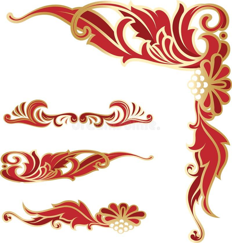 Plantillas elegantes rico adornadas de la esquina y de las fronteras libre illustration