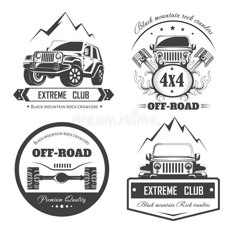 Plantillas extremas campo a través del logotipo del club del coche 4x4 Símbolos del vector stock de ilustración