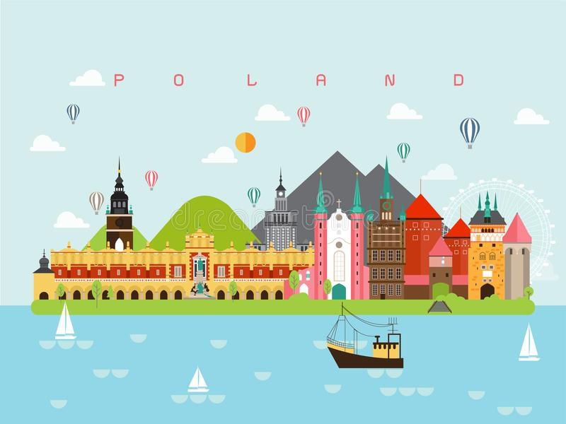 Plantillas famosas de Infographic de las señales de Polonia para viajar y el icono, vector del sistema de símbolo stock de ilustración