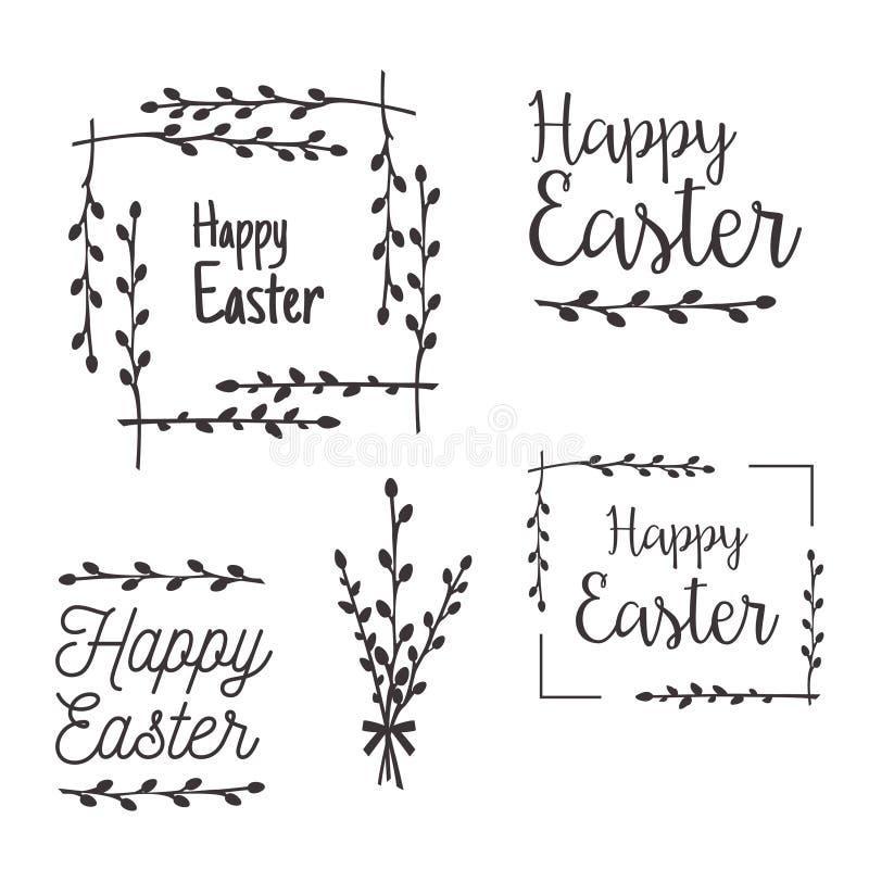Plantillas felices de Pascua, etiquetas, fronteras stock de ilustración