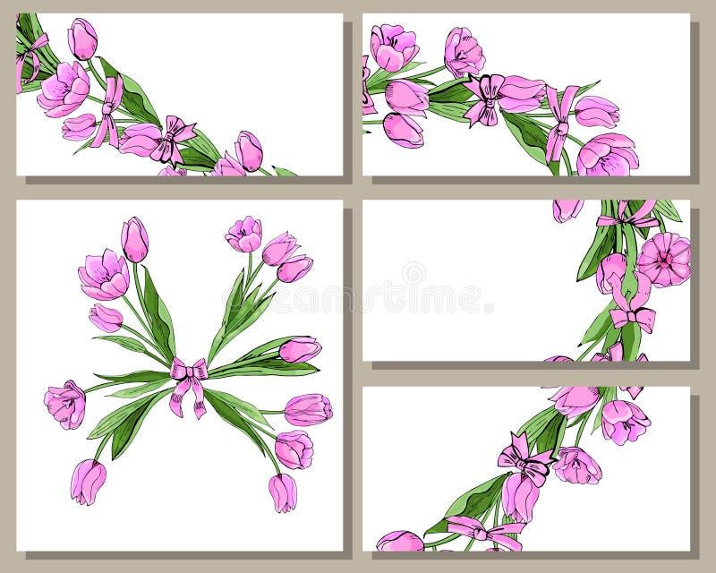 Plantillas florales de la primavera con los manojos exhaustos de la mano de tulipanes rosados stock de ilustración