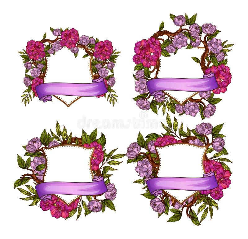 Plantillas florales del marco para casarse el sistema de la invitación libre illustration