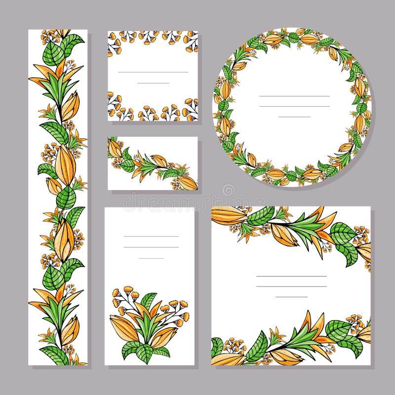 Plantillas florales del verano con las flores anaranjadas lindas stock de ilustración