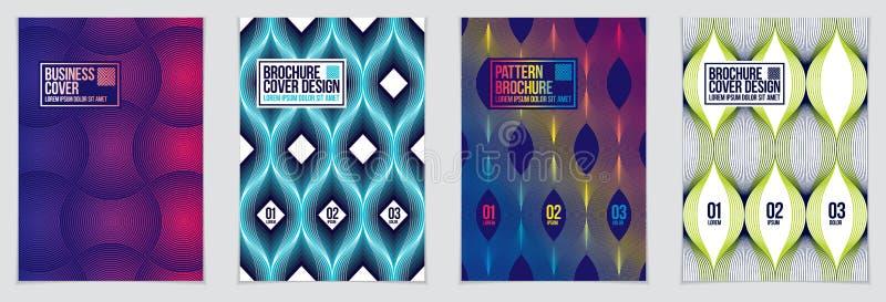 Plantillas futuras del diseño geométrico Modelos geométricos texturizados rayados abstractos del vector fijados Disposiciones par libre illustration