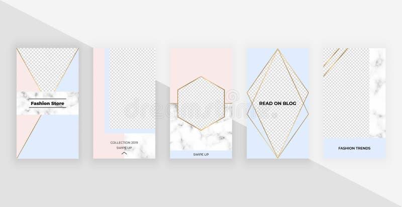 Plantillas geométricas de la moda para las historias del instagram, medios sociales, aviadores, tarjeta, cartel, bandera Diseño m stock de ilustración
