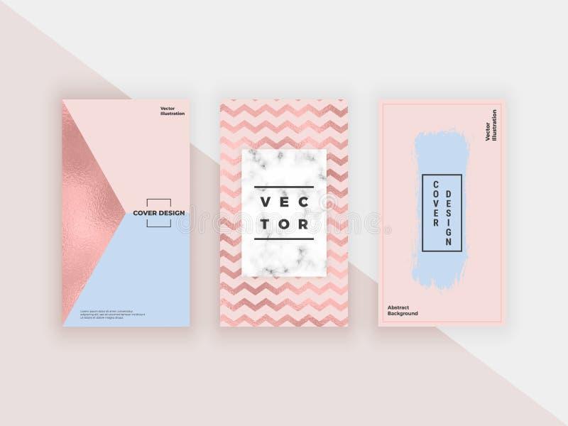 Plantillas geométricas de la moda para las historias del instagram, medios sociales, aviadores, tarjeta, cartel, bandera Diseño m ilustración del vector