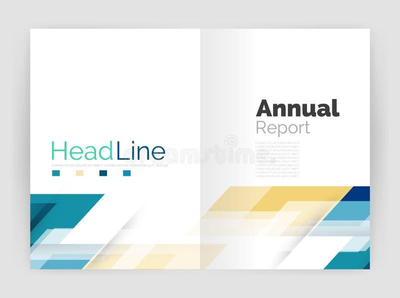 Plantillas geométricas del informe anual del negocio, plantilla moderna del aviador del folleto ilustración del vector