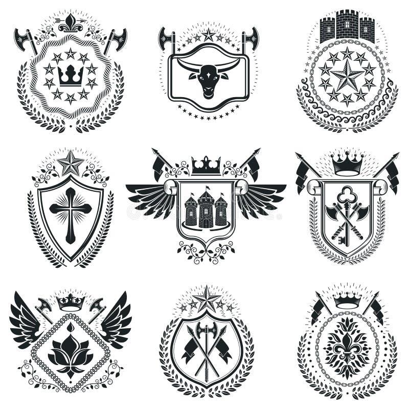 Plantillas heráldicas de lujo del emblema de los vectores Blasones del vector classy stock de ilustración