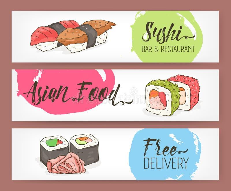 Plantillas horizontales coloreadas brillantes de la bandera con el sushi, los rollos y el jengibre dibujados mano en el fondo bla libre illustration