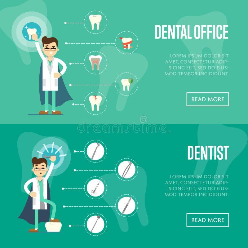 Plantillas horizontales del sitio web de la oficina dental libre illustration