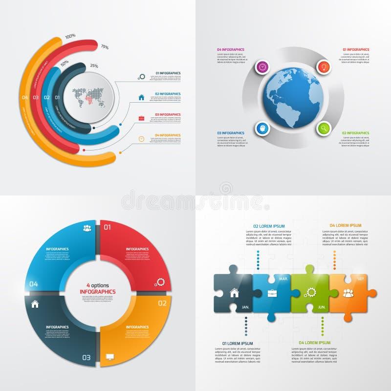 4 plantillas infographic del vector de los pasos ilustración del vector