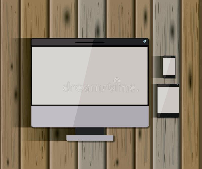 Plantillas inmóviles con los dispositivos equipo de escritorio de la tecnología y PC de la tableta y teléfono móvil sobre fondo d ilustración del vector