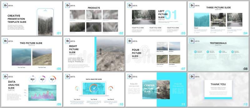 Plantillas limpias y mínimas de la presentación Elementos azules en un fondo blanco Diseño del vector de la cubierta del folleto ilustración del vector