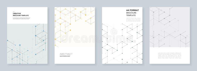 Plantillas mínimas para el aviador, prospecto, folleto, informe, presentación Línea moderna modelo del arte con las líneas de con stock de ilustración