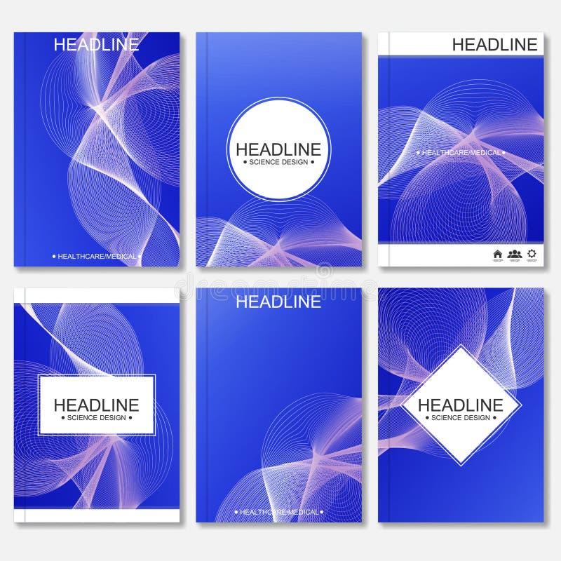 Plantillas modernas del vector para el folleto, el aviador, la revista de la cubierta o el informe de tamaño A4 Líneas curvadas e stock de ilustración