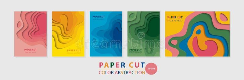 Plantillas multicoloras verticales y horizontales del vector 3D del extracto A4 para las diversas clases de productos impresos stock de ilustración