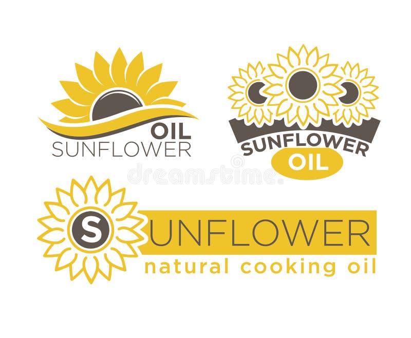 Plantillas naturales de las etiquetas del paquete del vector del producto del aceite de cocina del girasol fijadas stock de ilustración
