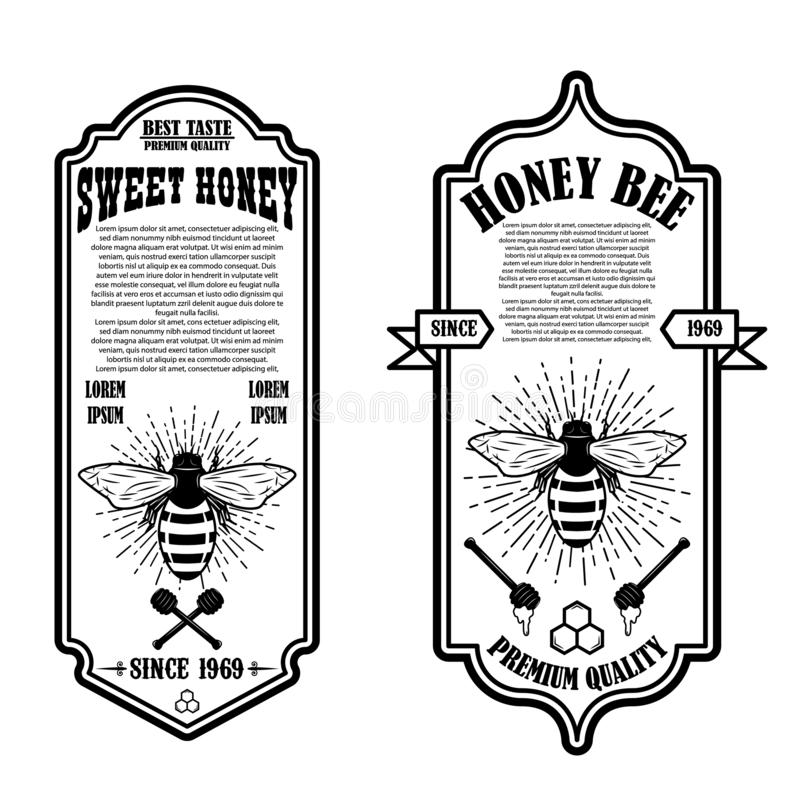 Plantillas naturales del aviador de la miel del vintage Diseñe los elementos para el logotipo, etiqueta, muestra, insignia stock de ilustración