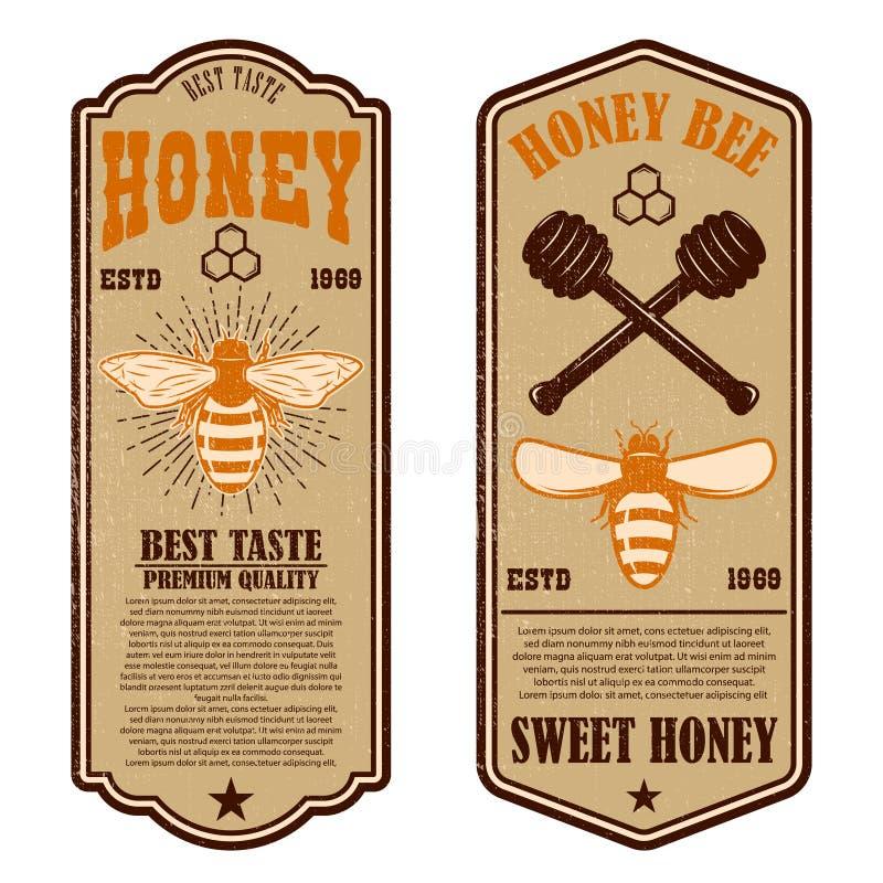 Plantillas naturales del aviador de la miel del vintage Diseñe los elementos para el logotipo, etiqueta, muestra, insignia ilustración del vector