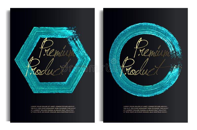 Plantillas negras y azules del diseño del oro para los folletos, aviadores, tecnologías móviles, usos, banderas, caja superior libre illustration