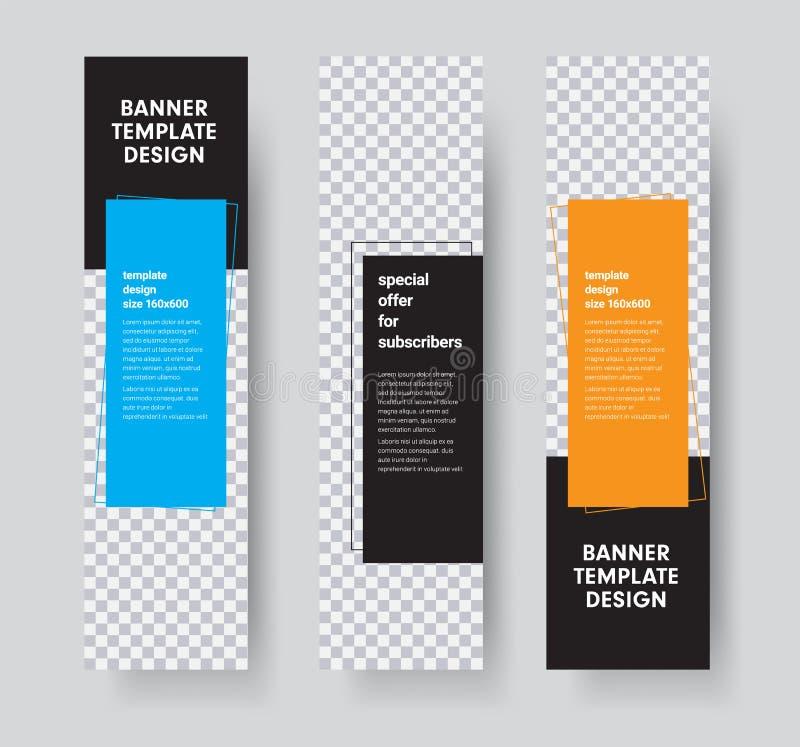 Plantillas para las banderas verticales de la web con el espacio para la foto y los elementos de color rectangulares para el text stock de ilustración