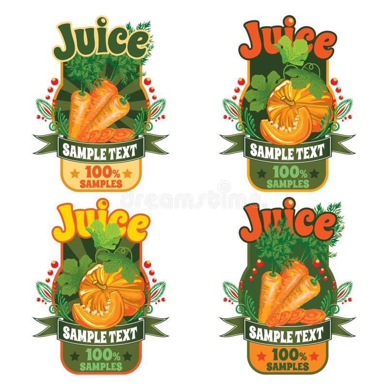 Plantillas para las etiquetas del jugo de zanahorias y de la calabaza stock de ilustración