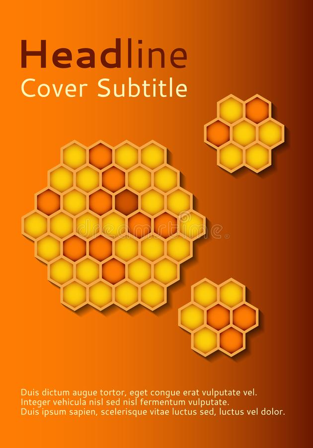 Plantillas promocionales del folleto de los productos de la abeja Cubierta del vector del negocio de la miel Diseño del folleto o libre illustration